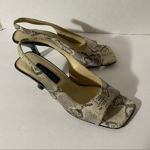 Bisou Bisou grey snakeskin 8.5 heel